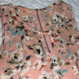 Pleione size small soft pink floral tank blouse